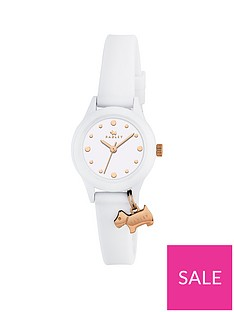 6c242d4df1 Radley Radley White and Gold Dog Charm Dial White Silicone Strap Ladies  Watch