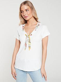 river-island-scarf-neck-t-shirt--white