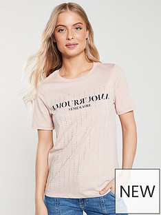 4afaaf17c8b River Island River Island Diamante Embellished Printed T-shirt- Pink