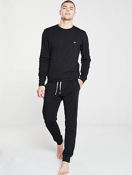 emporio-armani-bodywear-crew-neck-sweat-pyjamas-black