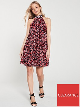 river-island-river-island-red-print-halterneck-pleated-dress--red