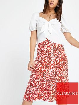 ri-petite-printed-button-midi-skirt--red