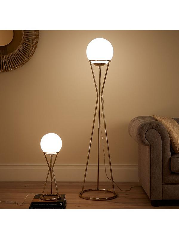 Laurel Glass Ball Gold Metal Floor Lamp