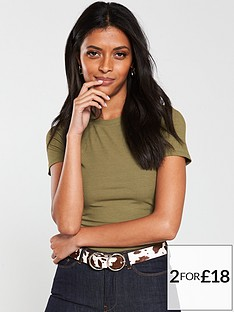 v-by-very-the-essential-ribbed-short-sleeve-top-khaki