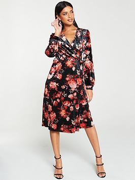 v-by-very-velvet-printed-wrap-midi-dress-black