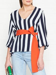 gestuz-vaia-stripe-blouse-blue