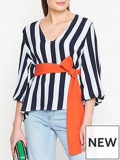 gestuz-vaia-stripe-blouse-blue