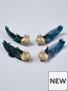 gisela-graham-gold-glitter-bird-clip-on-christmas-tree-decorations-set-of-4