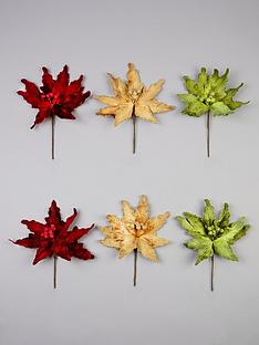gisela-graham-traditional-poinsettia-christmas-tree-picks-set-of-6