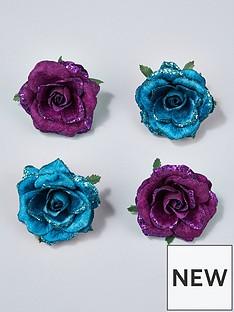 gisela-graham-clip-on-rose-christmas-tree-decorations-set-of-4-bluepurple