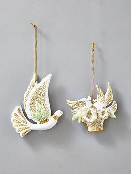 gisela-graham-dove-christmas-tree-ornaments-set-of-2