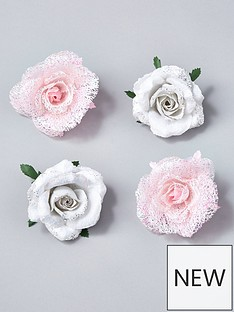 gisela-graham-clip-on-rose-christmas-tree-decorations-set-of-4-pinkwhite