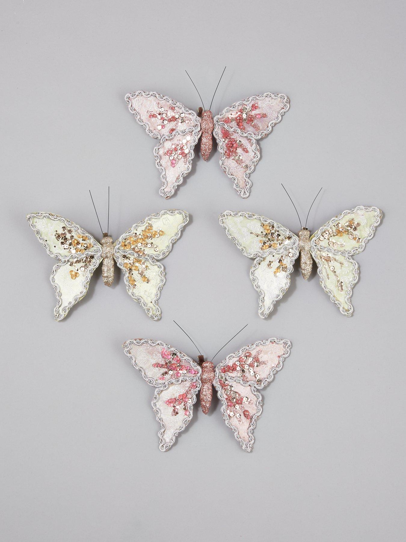 GISELA GRAHAM CHRISTMAS WHITE GLITTER DIAMANTE CLIP ON BUTTERFLY DECORATION X 2
