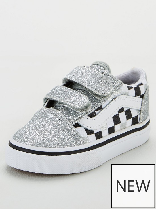 ad779dd605c1 Vans Old Skool Checkerboard Toddler Trainers - Silver Glitter | very ...