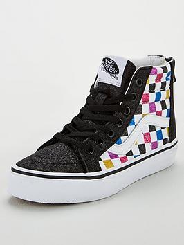 vans-sk8-hi-zip-checkerboard-childrens-trainers-blackwhite