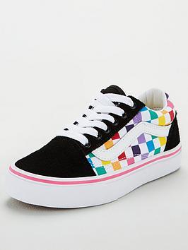 vans-old-skool-checkerboard-childrens-trainers-rainbow
