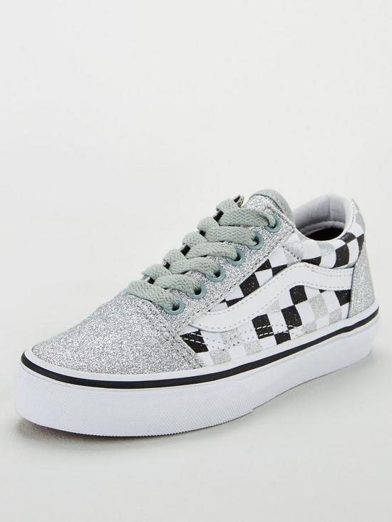 203c6394a0c95 Old Skool Checkerboard Childrens Trainers - Silver Glitter