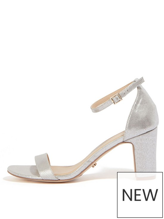 a4770e4d9ac Bridesmaids Two Part Block Heeled Sandals - Silver