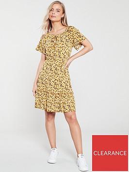 v-by-very-printed-milkmaid-jersey-dress-mustard