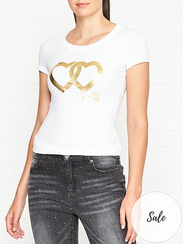 love-moschino-double-heart-logo-fitted-t-shirt-white