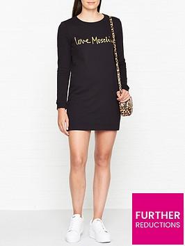 love-moschino-script-logo-sweatshirt-dress-black