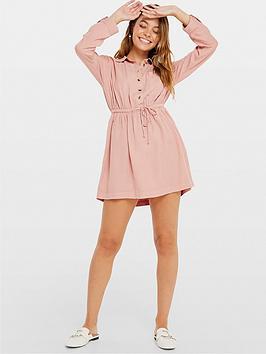 miss-selfridge-petite-belted-shirt-dress-camel
