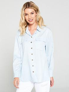 miss-selfridge-utility-shirt-blue