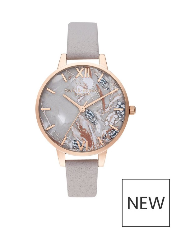 2843e9fe1 Olivia Burton Olivia Burton Abstract Florals Pearlesque and Pale Rose Gold  Dial Grey Lilac Leather Strap Ladies Watch