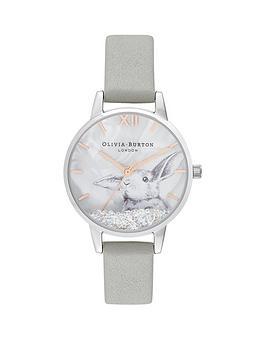 olivia-burton-olivia-burton-winter-bunny-grey-and-rose-gold-detail-snow-globe-dial-silver-leather-strap-ladies-watch