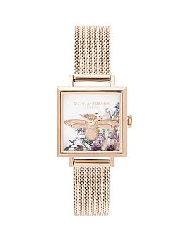 olivia-burton-olivia-burton-enchanted-garden-3d-bee-floral-square-dial-pale-rose-gold-stainless-steel-mesh-strap-ladies-watch