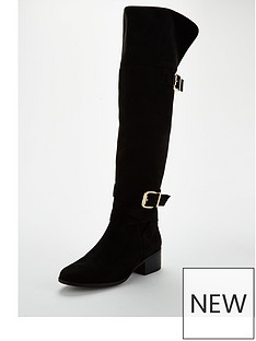 wallis-over-the-knee-double-buckle-boots-black