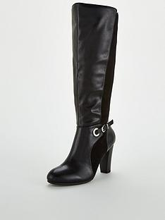 wallis-mix-material-buckle-knee-high-boots-black