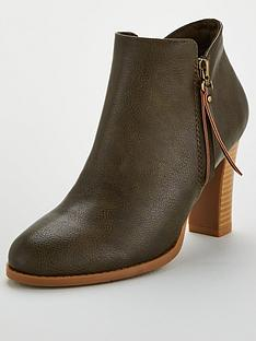 wallis-side-zip-block-heel-ankle-boot-khaki