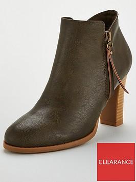 wallis-side-zip-block-heel-ankle-boot-khaki