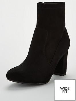 wallis-wide-fit-block-heel-sock-boot-black