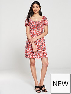 e403b93c V by Very Ruched Bust Jersey Tea Dress - Red