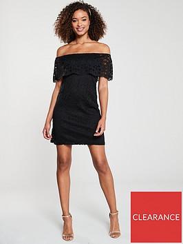 v-by-very-lace-bardot-mini-dress-black