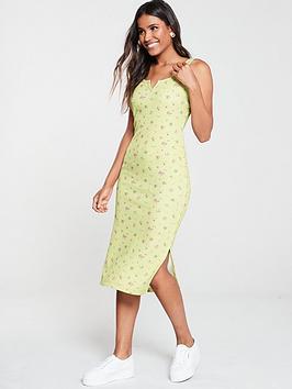 v-by-very-waffle-floral-midi-dress-print