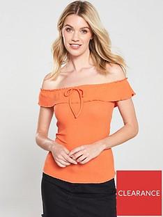 v-by-very-off-the-shoulder-ribbednbsptop-orange