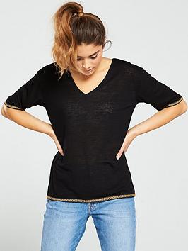 v-by-very-trim-detailnbspv-neck-top-black