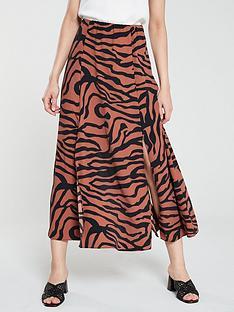 wallis-zebra-midi-skirt-rust