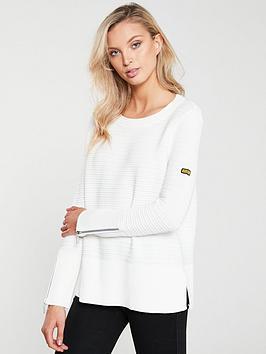 barbour-international-garrow-knitted-jumper-off-white