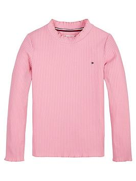 tommy-hilfiger-girls-high-neck-long-sleeve-t-shirt-pink