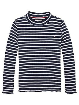 tommy-hilfiger-girls-high-neck-long-sleeve-t-shirt-navywhite
