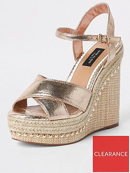 river-island-river-island-wide-fit-stud-cross-strap-wedge-gold