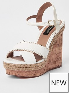 river-island-river-island-wide-fit-stud-cross-strap-wedge-white