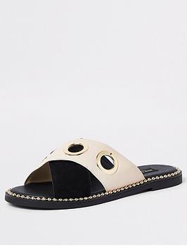 river-island-river-island-wide-fit-cross-strap-flat-sandal-black