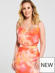 eef2210fb86a5 Kate Wright Cowl Front Satin Cami Top - Tie Dye