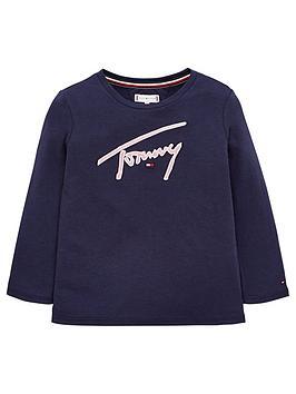 tommy-hilfiger-girls-signature-long-sleeve-t-shirt-navy