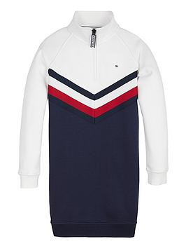 tommy-hilfiger-girls-half-zip-sweat-dress-navywhite